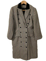 Wool Coat Dress In Black/White Check With Red/Green Accent Sz 6/8 Women's Lined