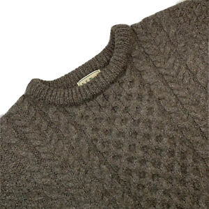 VTG LL Bean Large Heavy Chunky Knit Cable Knit Fisherman's Sweater Made Ireland