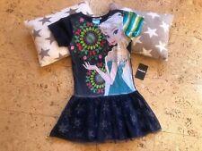 Neu Eiskönigin Kleid mit Spagettiträger in 3 Farben Baumwolle Gr 128 134