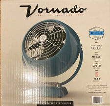 NEW VORNADO CLASSIC VINTAGE METAL FAN TILT RETRO AIR CIRCULATOR - TEAL & CHROME