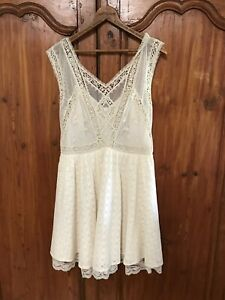 NEW $168 FREE PEOPLE EMBROIDERED LACE LOTTIE DRESS IVORY White Anthropologie 12