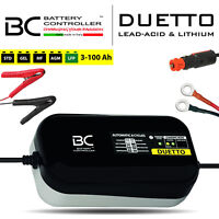 CARICA BATTERIA MANTENITORE BC DUETTO BATTERIE MOTO 12V ACIDO PIOMBO GEL E LITIO