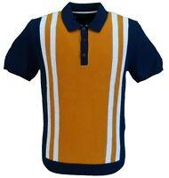 Ben Sherman Navy/Gold Knitted Striped Retro Polo Shirt