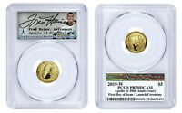 Apollo 11 Gold $5 Coin -1st Day Launch Ceremony- Signed by Fred Haise -PCGS PR70