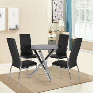 Black Tempered Glass Round Dining Table Chairs Set 2/4 Seaters Kitchen Home