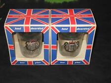 2 PINT GLASS SILVER JUBILEE 1977 DRINKING BEER LAGER WINE SHOT GB ROYAL Queen