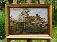 exquisites Ölgemälde von B.Schnieders 1921 altes Gehöft schöne Künstlerarbeit