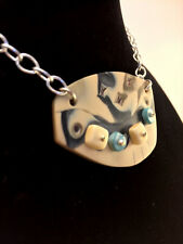 Pendant Polymer Clay Mokume Gane OOAK turquoise OOAK  silver chain