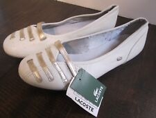 Lacoste larraya met white leather size 8 shoes flats women new
