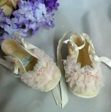 VINTAGE handmade BABY DOLL SHOES organdy RUFFLES Mrs Days IDEAL 3 1/2""