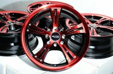 15x6.5 Wheels Honda Civic Mazda Miata Corolla Toyota Prius Red Black Rims 4 Lugs
