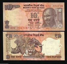 INDIA 10 RUPEES NEW 2007-2009-2010-2011 x 1 Piece GANDHI TIGER RHINO UNC NOTE