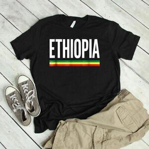ETHIOPIA Flag National Ethiopian Pride Unisex T-Shirt Cotton Black Unisex
