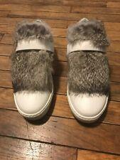 Moncler Women's Lucie Rabbit Fur Trim White Sneakers Size EU 38/US 8.5 (Worn 1)