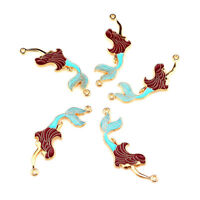 5PCS Light Gold Mermaid Fairy Tale Pendant Jewelry Finding Making 22217