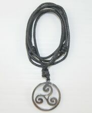 Stainless Steel Celtic Triple Swirl Pendant Surf Style Waxed Cotton Cord Choker