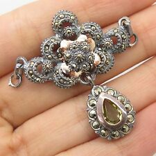 Vtg 925 Sterling Silver With Gold Real Marcasite Citrine Gemstone Pendant