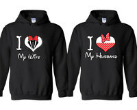 I Love My Wife I Love My Husband HOODIE Cartoon Heart Letters Couple Hoodie