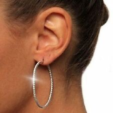 Diamond Alternatives Inside Out Hoop Earrings 14k White Gold over 925 SS 2 Inch