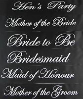 HENS NIGHT PARTY BRIDAL SASH BRIDE BRIDESMAID MAID OF HONOUR - BLACK + SILVER
