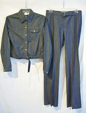 ARMANI EXCHANGE Dk-Blue Snap Shirt Jacket & Pants Set Outfit sz S,4