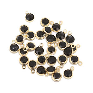 50pcs Stainless Steel Round Glass Crystal Charms Gold Plated Pendents Findings