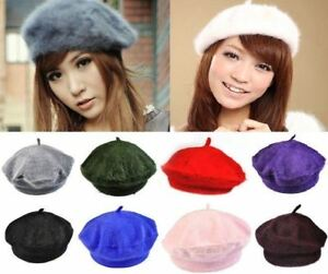 Women Rabbit Fur / Wool Vintage French Style Wool Beret Beanie Hat Cap