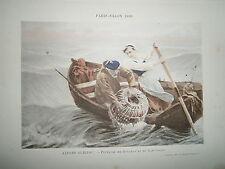Gravure 19° 1899 couleur Peinture A. Guillou: Pêcheurs de homard et de langouste