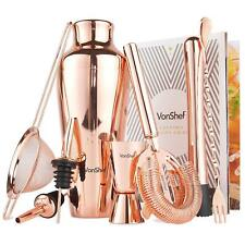 VonShef Copper Cocktail Shaker Set Parisian 9 piece in Gift Box with Recipe