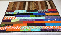 Patchwork Small Quilt, Rectangle Logs, Vivid Multi Colors, Various Calico Prints
