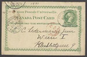 Canada QV 2c green postal card used 1891 to Austria via London