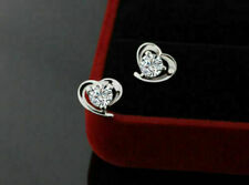 1Ct Round Diamond Solitaire Heart Stud Butterfly Earrings 14k White Gold Finish