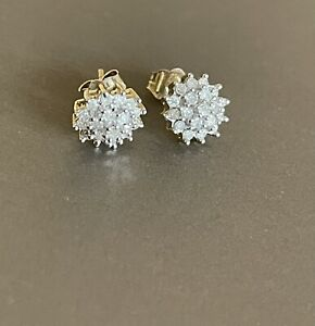 9ct Yellow Gold Diamond Earrings 0.50ct Flower Cluster Studs Half Carat 50 Point