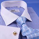 New Light Blue Striped Dress Shirt Luxury Men's White French Collar Business Top