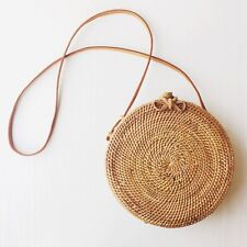 "sac rond en rotin 20cm diamètre / Round rattan basket bag 8"" diameter"