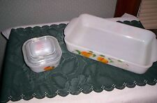 Anchor Hocking Fire King Gay Fad fruit design oblong casserole and small refrige