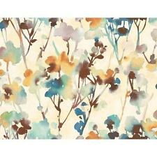 Wallpaper Designer Large Blue Teal Gold Green Brown Watercolor Leaves on Beige