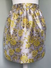 MONSOON FUSION Silver Yellow Floral Brocade Full Skirt Sz 8 10 Party Occasion