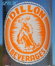 Old WEST orange white ACL pyro glaze COWBOY on BRONCO soda bottle DILLON MONTANA