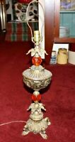Vintage Hollywood Regency Table Lamp #2 Gilded Gold Brass Orange Crystals