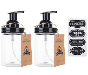 Mason Jar Foaming Soap Dispenser - with Plastic Pint Jar - Two Pack
