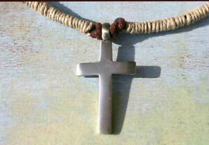 Leather Surfer Necklace with Pewter Cross Pendant and Hemp