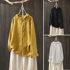 ZANZEA 8-24 Women Casual Long Sleeve Top Button Down Shirt Asymmetric Tee Blouse