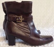St Johns Bay Womens Ankle Boots Brown Leather Heels Double Zip Block US Size 5