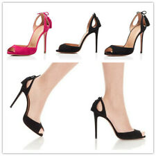 Womens Suede Fabric Tassels Slip On Open Toe Stiletto High Heels Sandals Shoes