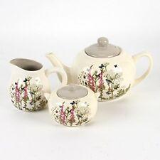 Butterflies and Birds Floral Tea Pot, Sugar Bowl and Small Jug Set