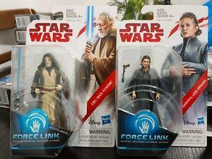 "Star Wars The Last Jedi Obi -Wan Kenobi & General Leia Organa 3.75"" Unopened"