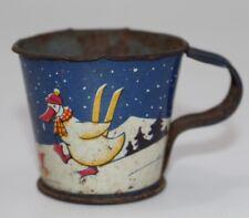 alte Blechtasse Blech Tasse für Puppenstube, Motiv Ente   #J899