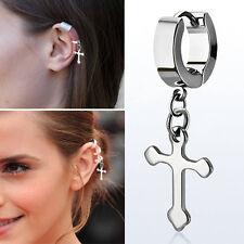 Hanging Steel Silver Cross Helix Huggie Jewelry Single Stud Cartilage Earring OS