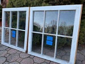 2 - 24 x 25 Vintage Window sash old 6 pane From 1970s Arts & Craft